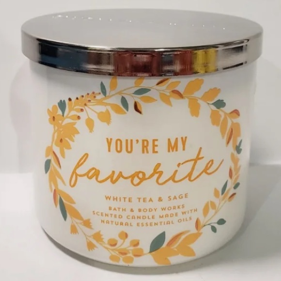 BBW you're my favorite white tea sage candle NWT